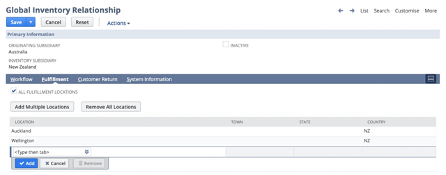 Screenshot of global inventory relationship in NetSuite