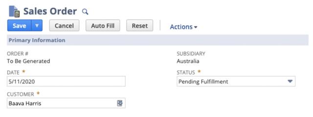 Screenshot of Sales Order in NetSuite