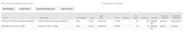 Screenshot of Sales Order