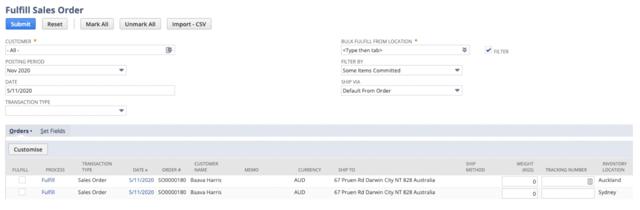 Screenshot of Fulfill Sales Order in NetSuite