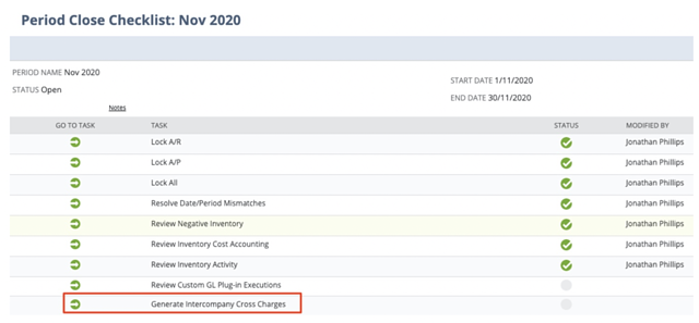 Screenshot of Period close checklist in NetSuite