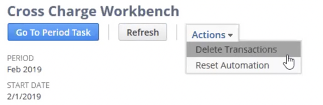 Screenshot of Cross Charge Workbench in NetSuite